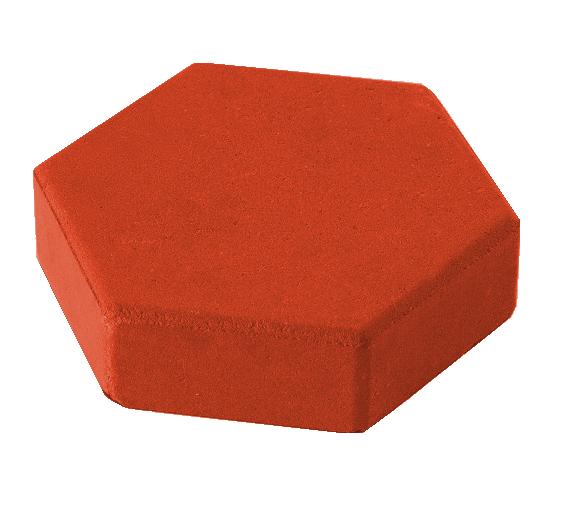 """Тротуарная плитка """"Шестигранник"""" красный 350x300x60 мм"""