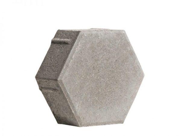 Тротуарная плитка Шестигранник малый серый 290x250x40 мм