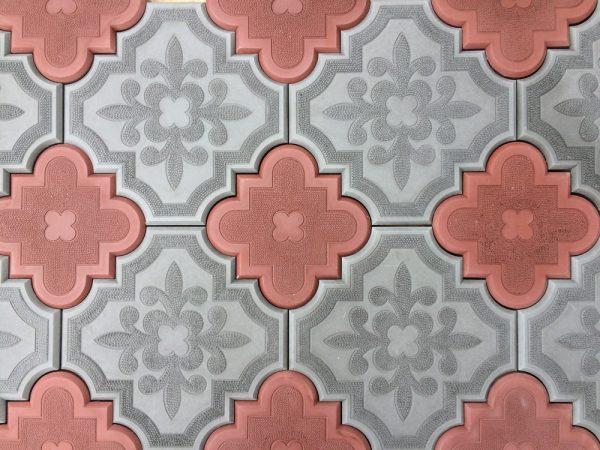 Тротуарная плитка Лепесток, серая и красная
