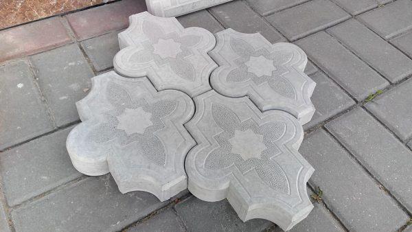 """Тротуарная плитка """"Клевер"""" серый цвет 255x215x40 мм"""